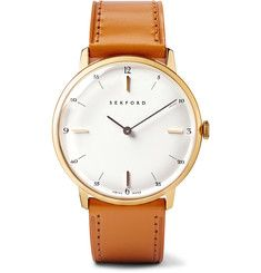Sekford - Type 1A Gold PVD-Plated Stainless Steel and Leather Watch