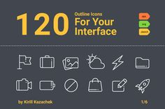 120 Outline Icons For Your Interface by Kirill on Creative Market