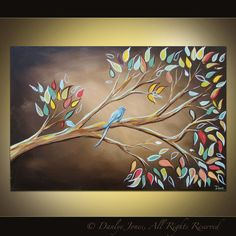 Bird on a Branch painting on canvas huge art 36 x 24 via Etsy