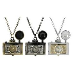 @Overstock - If a picture is worth a 1,000 words, this stylish watch necklace surely has a statement to make! An antique-style camera dangles from a 15-inch rolo chain, while the Czech rhinestone accents add the perfect amount of sparkle to this unique timepiece.http://www.overstock.com/Jewelry-Watches/Geneva-Platinum-Womens-Rhinestone-Old-fashioned-Camera-Necklace-Watch/6322951/product.html?CID=214117 $23.49  SO CUTE!!