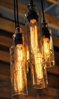 Custom Made Recycled Bottle, Voss Bottle Pendant Lamp, Whiskey Bottle, Hanging Lamp With Edison Lightbulbs