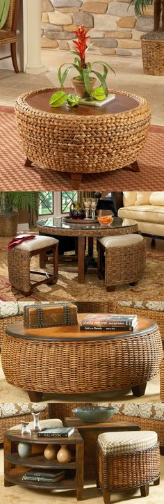 Round wicker coffee tables. Tables with stools make great game tables for family and sunrooms.