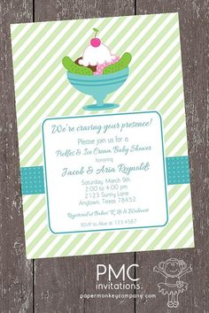 Pickles and Ice Cream Blue Baby Shower Invitation - 1.00 each with envelope on Etsy, $1.00