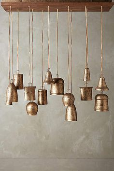 Campanology Chandelier, Fourteen-Light by Anthropologie in Gold Size: One Size Lighting from Anthropologie. Saved to Lighting. Home Lighting, Pendant Lighting, Copper Lighting, Pendant Lamp, Lighting Ideas, Lighting Design, Luminaria Diy, Cristal Art, Crystal Lights