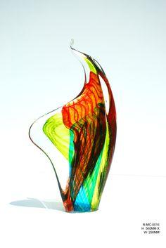 Blown Glass 'Flame Rock' Sculpture by Lucas Salton
