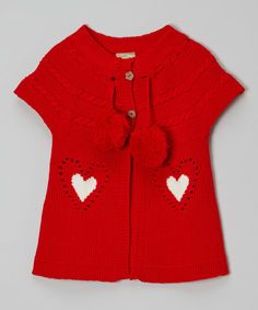 Love this Red Heart Pom-Pom Sweater - Toddler on #zulily! #zulilyfinds