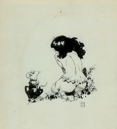Idyl ink drawing 1974 Comic Art