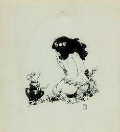 Idyl ink drawing 1974 Comic Art