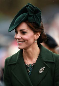 Victorian diamond oak leaf brooch set with pearl acorns, which Kate wore to a Sandringham church service at the end of 2015.