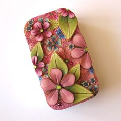 Spring Garden Slide Top Tin Sewing Needle Case by Claybykim