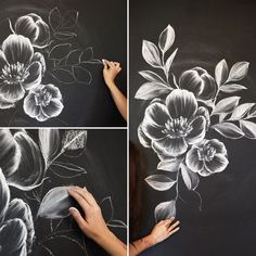 How to draw flowers and turn these drawings into really cool wall art How to Create a Gorgeous Chalk Mural with beautiful flowers. Learn how [. Chalk Wall, Chalkboard Wall Art, Chalkboard Drawings, Chalk Board Wall Ideas, Summer Chalkboard Art, Chalkboard Writing, Chalk Ideas, Cool Wall Art, Easy Wall Art