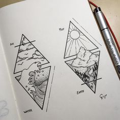 """4 Elements "" #art #artist #arte #artsy #instaart #instaartist #artoftheday #drawing #drawingoftheday #copic #geometry #pen #mountains #illustration #wave #illustrate #tattooart #dots #linework #blackandgrey #triangle #transotype #illustrationoftheday #dotwork #sensebook #picoftheday #4elements #tattooidea"