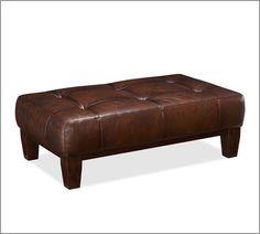 Sullivan Leather Rectangular Ottoman | Pottery Barn