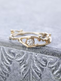 14K Champagne Diamond Fairy Branch Ring - rose gold please!
