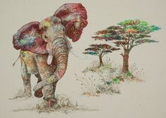"""England-born and living in Kenya, Sophie Standing embroiders intense portraits of African wildlife. The images are beautiful, impressionistic messes of overlapping threads and florals at unusual angles. The overall effect is a high-energy vibration of life, her perception of nature's beauty. """"Charging Elephant"""" by Sophie Standing. Via Hi-Fructose Magazine."""