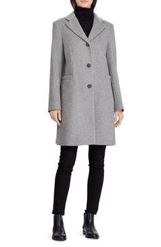 484f588ef51 Lauren Ralph Lauren Wool Blend Reefer Coat (Regular   Petite)