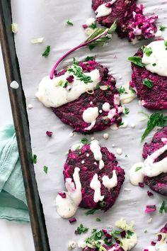 Beet and Cumin Fritters with Horseradish + Dill Yogurt | Vegan, GF