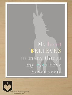 Nursery Decor, Unicorn Nursery Art Printable, 8x10, Gray Print. $9.00, via Etsy.