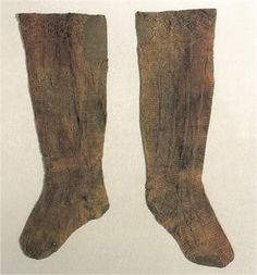 Knitted silk stockings, originally red. A part of Eleonora di Toledo's burial attire, 1562 (Palazzo Pitti, Florence).