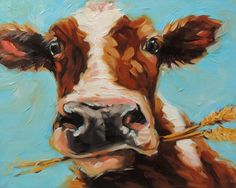 Cow Painting 8x10 inch original oil painting of a Cow by LaveryART www.etsy.com/shop/LaveryART
