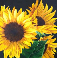 You can learn how to paint happy sunflowers in my 2 Day Painting Workshops! http://leeteusner.com/workshops/