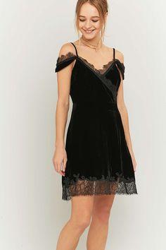 Pins & Needles Black Velvet and Lace Wrap Dress