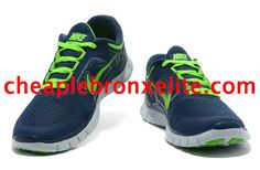 Dark Blue Nike Free Run 3 Mens Electric Green 510642 404