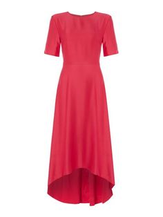 ISSA Isabella Satin Dip Hem Dress