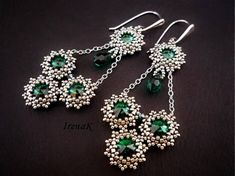 Beaded swarovski earrings, I love the silver and emerald combination.