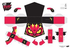 Blog Paper Toy papertoys Little Evil Red template preview Papertoys Little Evil de Tougui (x 4)