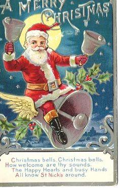 Great 1908 Christmas Postcard~SANTA Smoking A Pipe & Riding A Winged from baublesbanglesandbeads on Ruby Lane