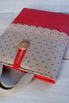 Laptop sleeve for a 13 inch Macbook/ linen/ handles by sandrastju, $35.00