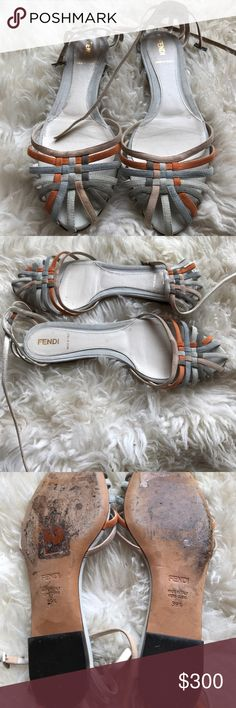 Fendi Multi Colored Suede and Leather Sandals Beautiful authentic Fendi sandals size 39.5 (fits like a US 9). Bought in Italy and worn one day. They're beautiful, my feet are too wide for them. Fendi Shoes Sandals