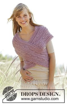 "Summer Twist - Knitted DROPS shoulder piece with cables, lace pattern and short rows in ""Alpaca"" and ""Kid-Silk"". Size: S - XXXL. - Free pattern by DROPS Design"