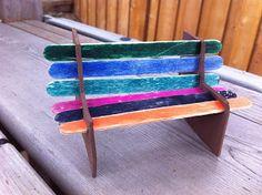 Fun Craft Idea: How to Make a Popsicle Stick Park Bench - Jinxy Kids Craft Stick Projects, Craft Stick Crafts, Wood Crafts, Craft Sticks, Diy Projects, Craft Ideas, Recycled Crafts Kids, Diy Crafts For Kids, Fun Crafts