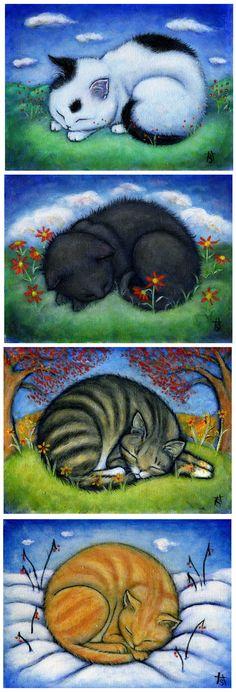 las cuatro estaciones... con gatos (autor desconocido)