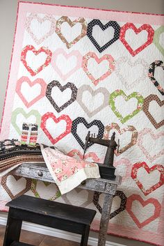 Open Heart quilt pattern by Lella Boutique. Made with 30 fat eighths or 15 fat quarters. Fabric is Olive's Flower Market by Lella Boutique for Moda (shipping November 2016).