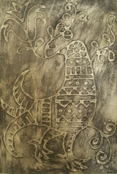 Glue Pictures- faux embossed metal using glue on cardboard, paint it gold, then black on top and wipe away the black.