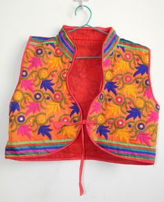 Indian Vintage Hippie Koti Kutch Floral Tribal Jacket Sleeveless Gypsy Top #Unbranded #KotiJacket