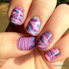 China Glaze Off Shore Water Marble (left hand) | Erin's Enamel #chinaglaze #nails #nailpolish #nailart #watermarble