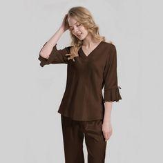 Silk pajamas with lace for ladies - OOSilk Silk Chemise, Silk Nightgown, Silk Sleepwear, Silk Pajamas, Lingerie Dress, Pajamas Women, Silk Top, Night Gown, Sexy Dresses