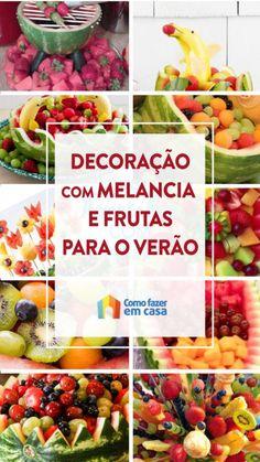 Decoração com melancia e frutas para o verão | Como fazer em casa Cantaloupe, Food, Design, Decorative Items, Watermelon, Sweet Like Candy, Diy Home, Cook, Xmas