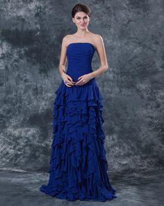 Ruffle Chiffon Strapless Floor Length Dress