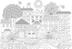 Funny cityscape for coloring book vector image on VectorStock Family Coloring Pages, Cool Coloring Pages, Free Coloring, Adult Coloring, Coloring Books, Chinese New Year Greeting, New Year Greeting Cards, Happy Chinese New Year, Happy Summer