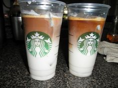 Copycat Starbucks Iced Vanilla Latte -- Still gotta find an espresso I like, but this saves money and is just as good as the ones made at Starbucks!! :)