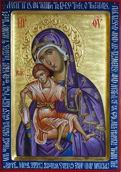 Axion Estin icon of the Theotokos, Mother of God, icons paint, Hand painted orthodox icon, Byzantine art, orthodox gift, iconography