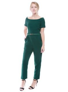 frnch green short sleeve off the shoulder jumpsuit