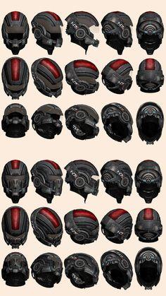Mass Effect Helmet Model Reference by on DeviantArt Mass Effect Tattoo, Mass Effect 2, Robot Concept Art, Armor Concept, Space Marine, Taktischer Helm, Mass Effect Cosplay, Character Art, Character Design