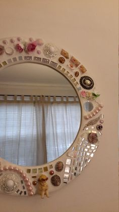 Whimsical round mosaic mirror