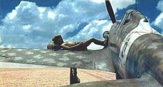 A pilot rests on the wing of his MC-202, Libya (1942) - pin by Paolo Marzioli